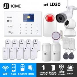LD30 ชุดสัญญาณกันขโมยบ้านไร้สายและบ้านอัจฉริยะ แจ้งเตือนผ่านการโทร3G-4G/แอพมือถือWifi/SMS ชุดใหญ่เน้นประตู