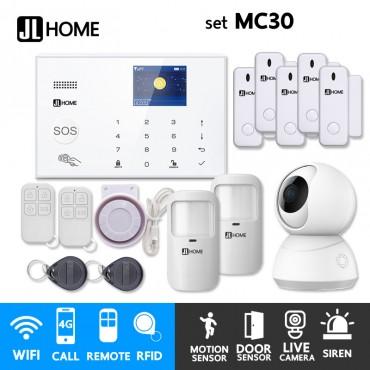 MC30 ชุดสัญญาณกันขโมยบ้านไร้สายและบ้านอัจฉริยะ แจ้งเตือนผ่านการโทร3G-4G/แอพมือถือWifi/SMS ชุดกลางพร้อมวงจรปิดในบ้าน