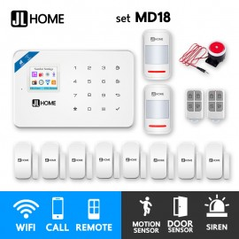 MD18 ชุดสัญญาณกันขโมยบ้านไร้สาย แจ้งเตือนผ่านแอพ/โทร/SMS ชุดกลาง เน้นประตูหน้าต่าง