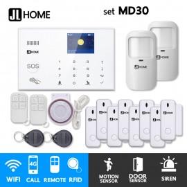 MD30 ชุดสัญญาณกันขโมยบ้านไร้สายและบ้านอัจฉริยะ แจ้งเตือนผ่านการโทร3G-4G/แอพมือถือWifi/SMS ชุดกลางเน้นประตู
