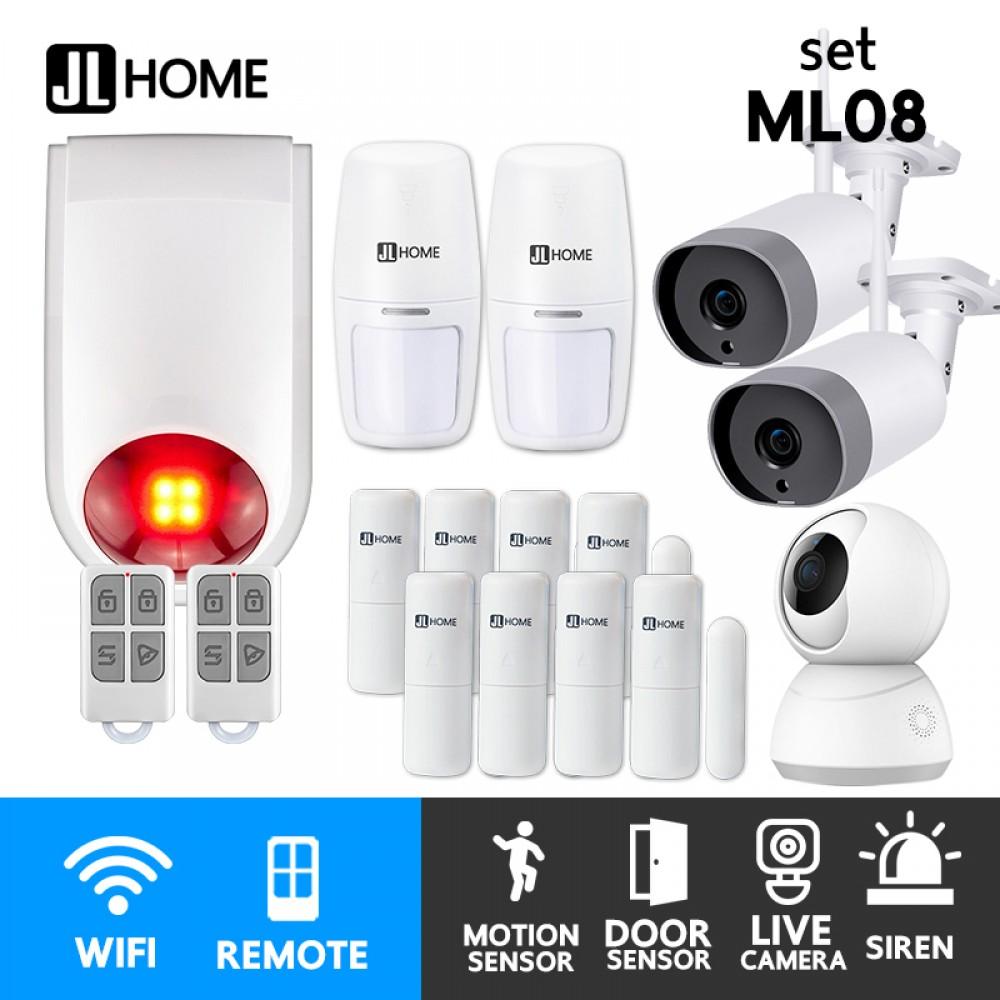 ML08 ชุดกล่องควบคุมไซเรน สัญญาณกันโมยบ้านไร้สาย ชุดกลางL แจ้งเตือนผ่านแอพ ไม่ต้องมีกล่องควบคุมในบ้าน