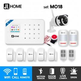 MO18 ชุดสัญญาณกันขโมยบ้านไร้สาย แจ้งเตือนผ่านแอพ/โทร/SMS ชุดกลาง พร้อมกล้องวงจรปิดนอกบ้าน