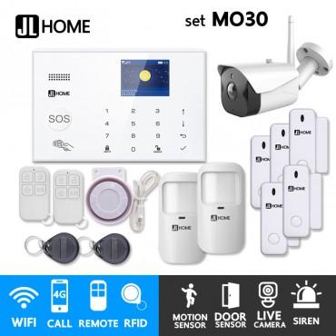 MO30 ชุดสัญญาณกันขโมยบ้านไร้สายและบ้านอัจฉริยะ แจ้งเตือนผ่านการโทร3G-4G/แอพมือถือWifi/SMS ชุดกลางพร้อมวงจรปิดนอกบ้าน