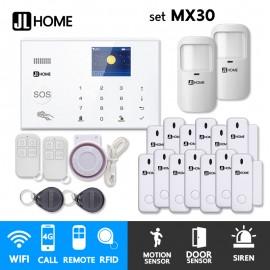 MX30 ชุดสัญญาณกันขโมยบ้านไร้สาย แจ้งเตือนผ่านแอพ/โทร/SMS ชุดกลาง ประตูหน้าต่างเน้นๆ