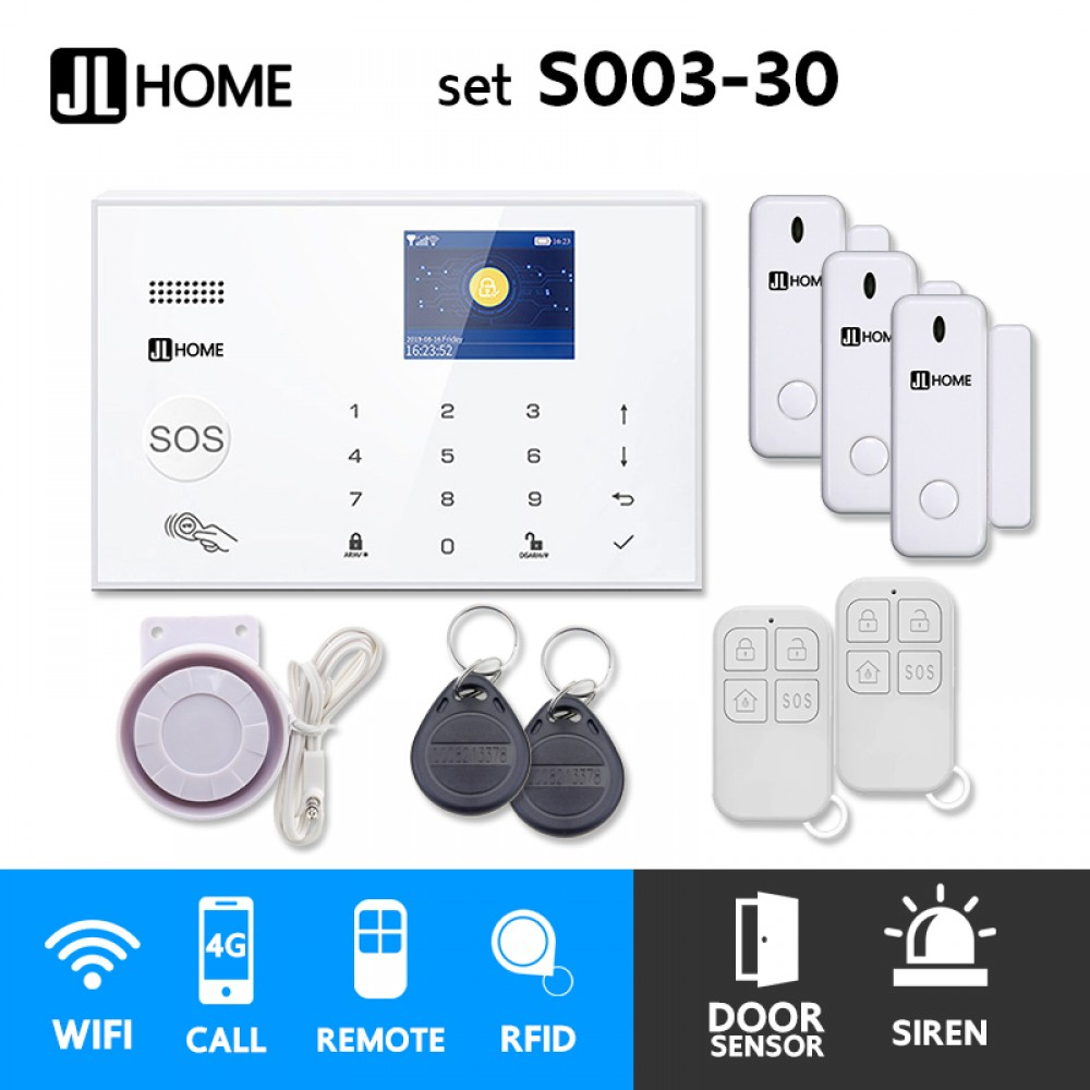 S003-30 ชุดสัญญาณกันขโมยบ้านไร้สายและบ้านอัจฉริยะ แจ้งเตือนผ่านการโทร3G-4G/แอพมือถือWifi/SMS ประตู3