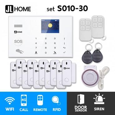 S010-30 ชุดสัญญาณกันขโมยบ้านไร้สายและบ้านอัจฉริยะ แจ้งเตือนผ่านการโทร3G-4G/แอพมือถือWifi/SMS ประตู10
