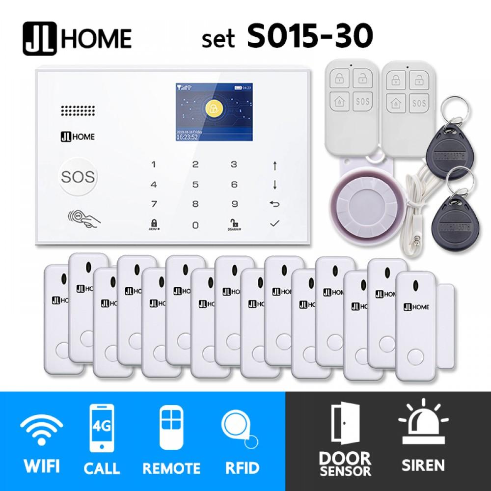 S015-30 ชุดสัญญาณกันขโมยบ้านไร้สายและบ้านอัจฉริยะ แจ้งเตือนผ่านการโทร3G-4G/แอพมือถือWifi/SMS ประตู15
