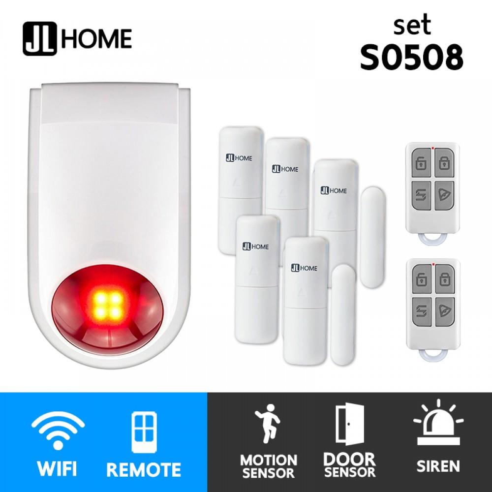 S0508 ชุดกล่องควบคุมไซเรน สัญญาณกันโมยบ้านไร้สาย ชุดเซ็นเซอร์ประตูx5 แจ้งเตือนผ่านแอพ ไม่ต้องมีกล่องควบคุมในบ้าน
