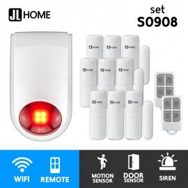 S0908 ชุดกล่องควบคุมไซเรน สัญญาณกันโมยบ้านไร้สาย ชุดเซ็นเซอร์ประตูx9 แจ้งเตือนผ่านแอพ ไม่ต้องมีกล่องควบคุมในบ้าน