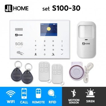 S100-30 ชุดสัญญาณกันขโมยบ้านไร้สายและบ้านอัจฉริยะ แจ้งเตือนผ่านการโทร3G-4G/แอพมือถือWifi/SMS ความเคลื่อนไหว1