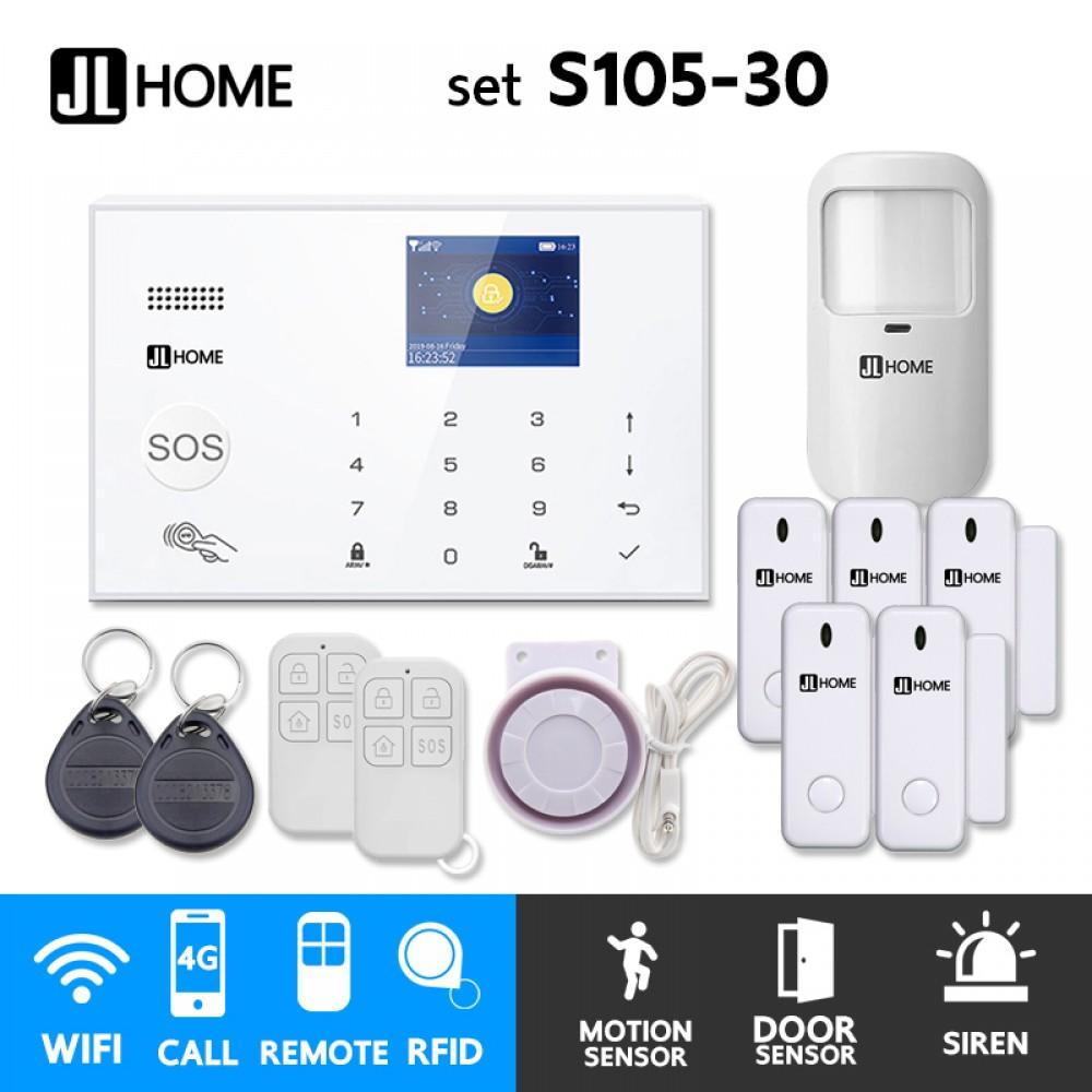 S105-30 ชุดสัญญาณกันขโมยบ้านไร้สายและบ้านอัจฉริยะ แจ้งเตือนผ่านการโทร3G-4G/แอพมือถือWifi/SMS ความเคลื่อนไหว1 ประตู5