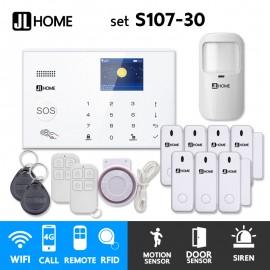 S107-30 ชุดสัญญาณกันขโมยบ้านไร้สายและบ้านอัจฉริยะ แจ้งเตือนผ่านการโทร3G-4G/แอพมือถือWifi/SMS ความเคลื่อนไหว1 ประตู7