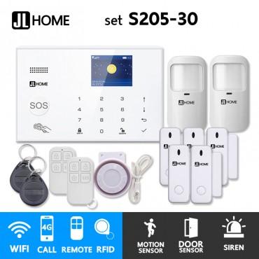 S205-30 ชุดสัญญาณกันขโมยบ้านไร้สายและบ้านอัจฉริยะ แจ้งเตือนผ่านการโทร3G-4G/แอพมือถือWifi/SMS ความเคลื่อนไหว2 ประตู5
