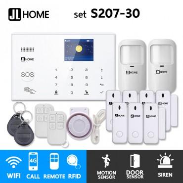 S207-30 ชุดสัญญาณกันขโมยบ้านไร้สายและบ้านอัจฉริยะ แจ้งเตือนผ่านการโทร3G-4G/แอพมือถือWifi/SMS ความเคลื่อนไหว2 ประตู7
