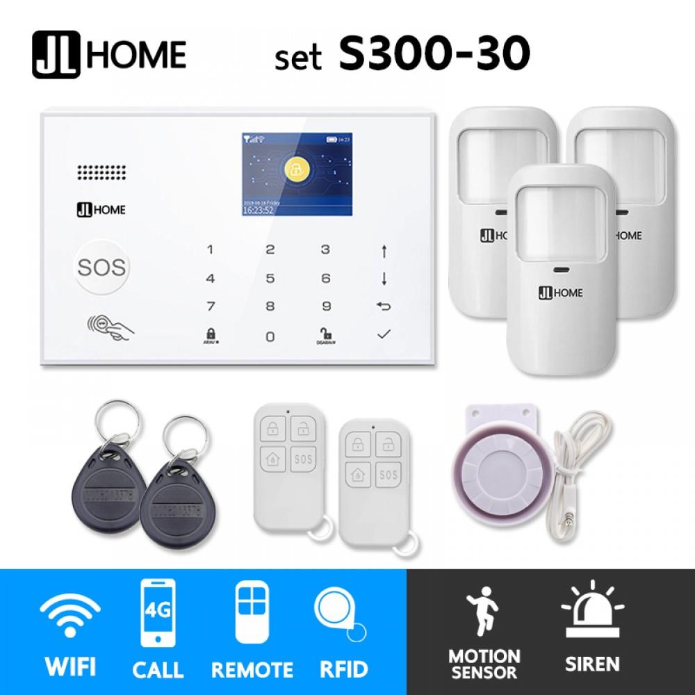 S300-30 ชุดสัญญาณกันขโมยบ้านไร้สายและบ้านอัจฉริยะ แจ้งเตือนผ่านการโทร3G-4G/แอพมือถือWifi/SMS ความเคลื่อนไหว3
