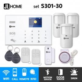 S301-30 ชุดสัญญาณกันขโมยบ้านไร้สายและบ้านอัจฉริยะ แจ้งเตือนผ่านการโทร3G-4G/แอพมือถือWifi/SMS ความเคลื่อนไหว3 ประตู1