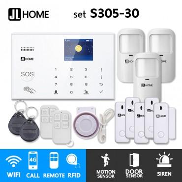 S305-30 ชุดสัญญาณกันขโมยบ้านไร้สายและบ้านอัจฉริยะ แจ้งเตือนผ่านการโทร3G-4G/แอพมือถือWifi/SMS ความเคลื่อนไหว3 ประตู5