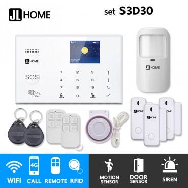 S3D30 ชุดสัญญาณกันขโมยบ้านไร้สายและบ้านอัจฉริยะ แจ้งเตือนผ่านการโทร3G-4G/แอพมือถือWifi/SMS ชุดเล็กเพิ่มประตู3จุด