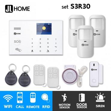 S3R30 ชุดสัญญาณกันขโมยบ้านไร้สายและบ้านอัจฉริยะ แจ้งเตือนผ่านการโทร3G-4G/แอพมือถือWifi/SMS ชุดเล็กเพิ่มประตู3จุด