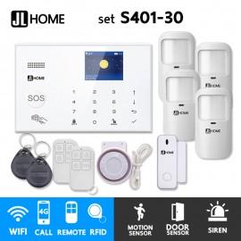 S401-30 ชุดสัญญาณกันขโมยบ้านไร้สายและบ้านอัจฉริยะ แจ้งเตือนผ่านการโทร3G-4G/แอพมือถือWifi/SMS ความเคลื่อนไหว4 ประตู1