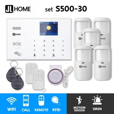 S500-30 ชุดสัญญาณกันขโมยบ้านไร้สายและบ้านอัจฉริยะ แจ้งเตือนผ่านการโทร3G-4G/แอพมือถือWifi/SMS ความเคลื่อนไหว5