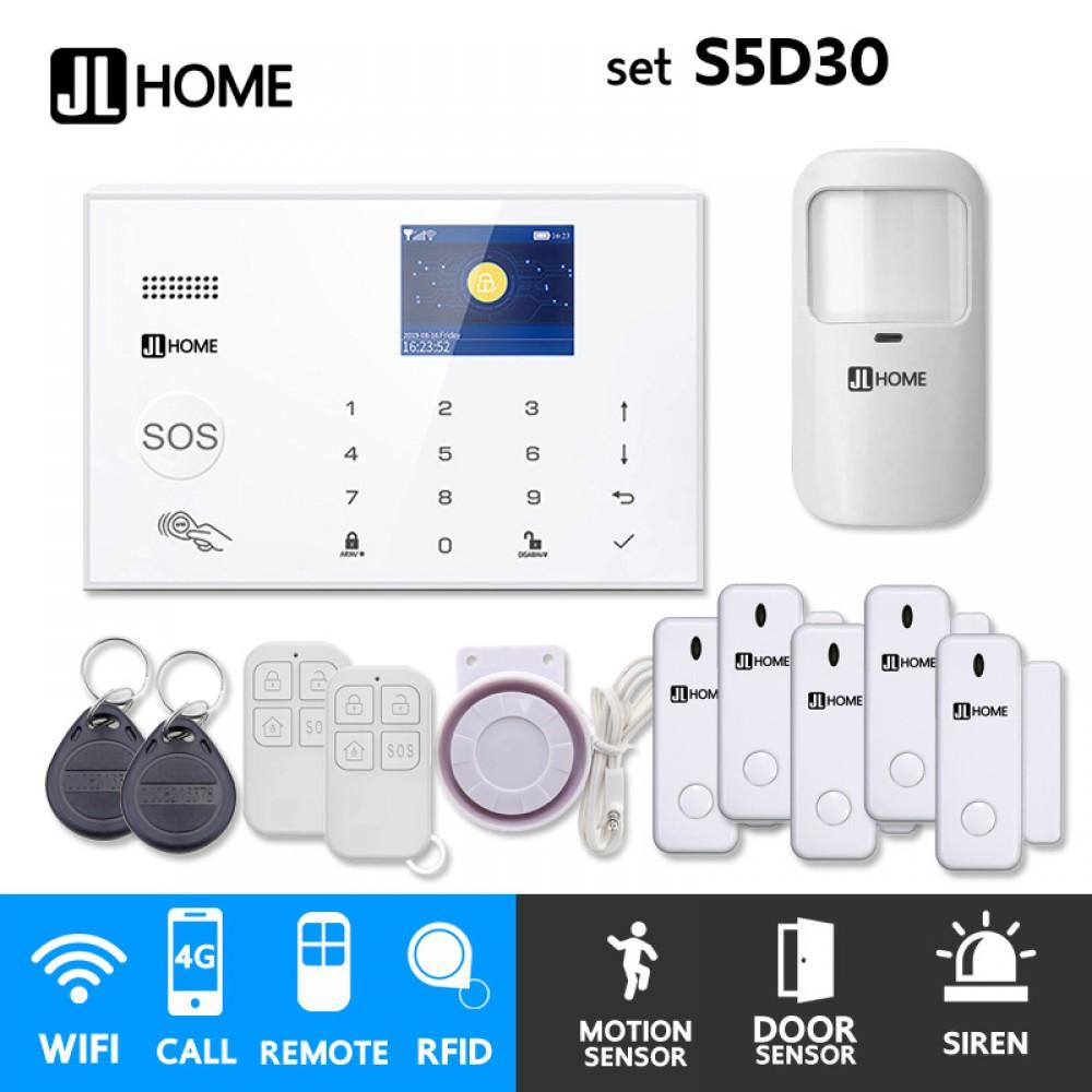 S5D30 ชุดสัญญาณกันขโมยบ้านไร้สายและบ้านอัจฉริยะ แจ้งเตือนผ่านการโทร3G-4G/แอพมือถือWifi/SMS ชุดเล็กเพิ่มประตู5จุด