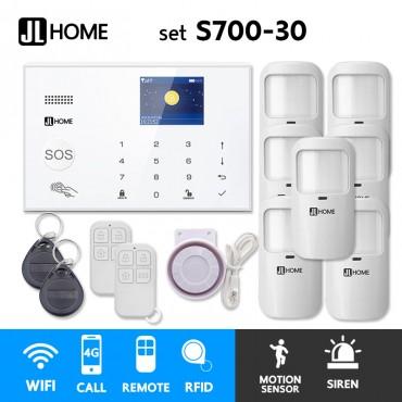 S700-30 ชุดสัญญาณกันขโมยบ้านไร้สายและบ้านอัจฉริยะ แจ้งเตือนผ่านการโทร3G-4G/แอพมือถือWifi/SMS ความเคลื่อนไหว7