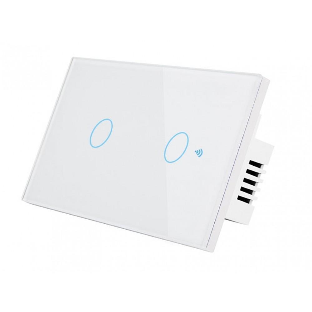 HSWA2 สวิตถ์เปิดปิดไฟอัจฉริยะ 2ปุ่มกด เชื่อมต่อผ่าน Wifi รองรับ 433MHz หน้าปัดกระจกทัชสกรีน