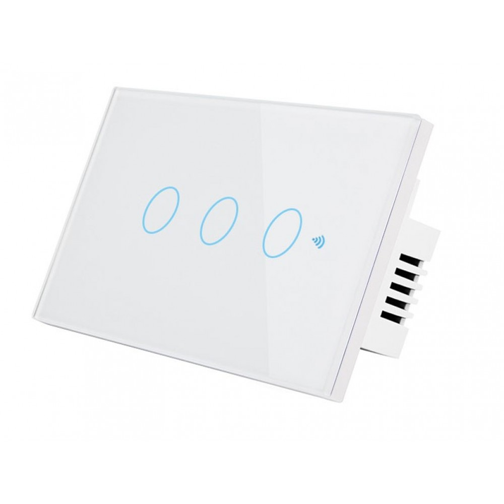 HSWA3 สวิตถ์เปิดปิดไฟอัจฉริยะ 3ปุ่มกด เชื่อมต่อผ่าน Wifi รองรับ 433MHz หน้าปัดกระจกทัชสกรีน