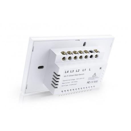 HSWA4 สวิตถ์เปิดปิดไฟอัจฉริยะ 4ปุ่มกด เชื่อมต่อผ่าน Wifi รองรับ 433MHz หน้าปัดกระจกทัชสกรีน